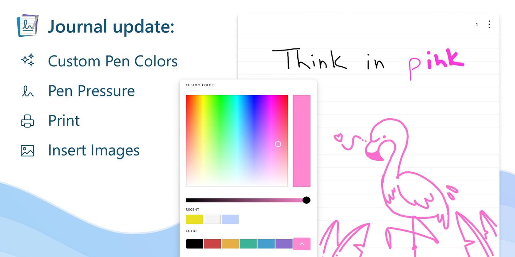 برنامه Microsoft Journal ویژگی های جدیدی از جمله رنگ قلم سفارشی را اضافه می کند